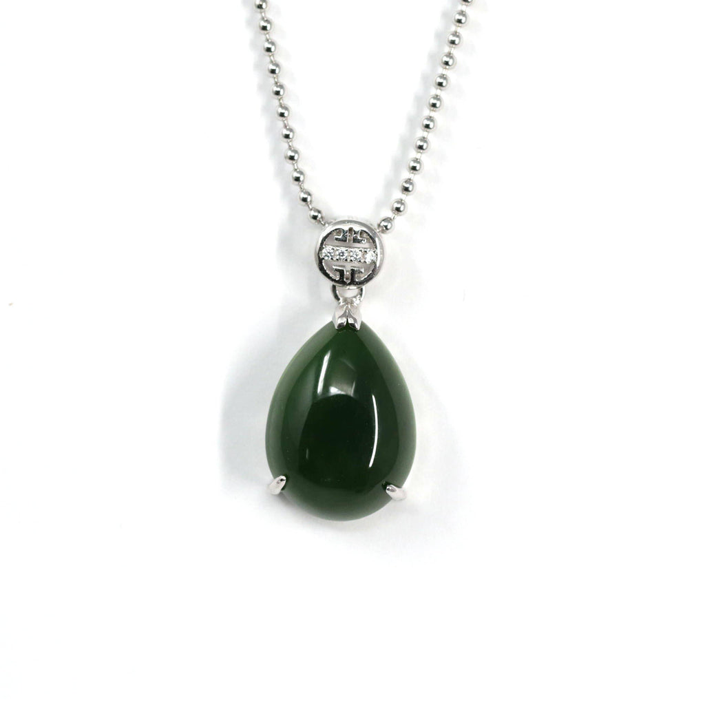 "Baikalla™ ""Teardrop"" Sterling Silver Real Green Jade Classic Pendant Necklace"