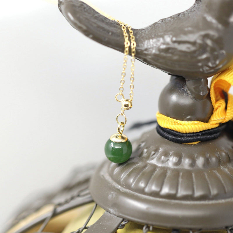 "Baikalla™ ""Classic Dangle"" Gold plated Silver Nephrite Green Jade Classic Bead Adjustable  Pendant Necklace"