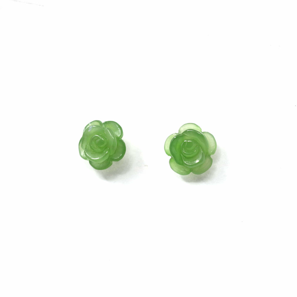18k Solid Gold Real Green Jade Rose Flower Earrings