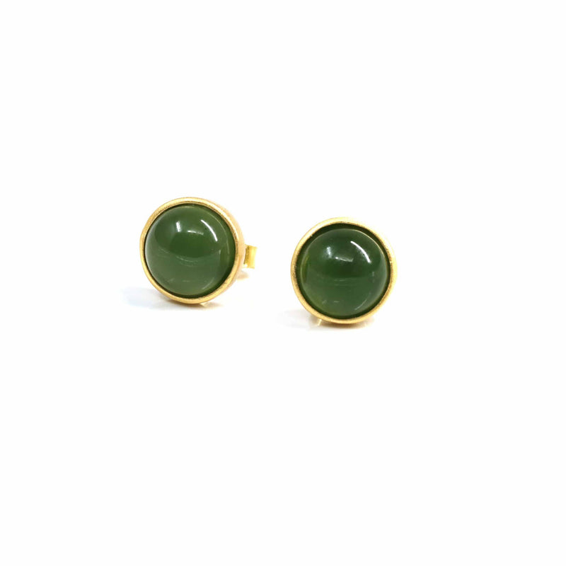 "Baikalla™ 'Classic Studs"" Gold Plated Sterling Silver Real Green Jade Stud Earrings"