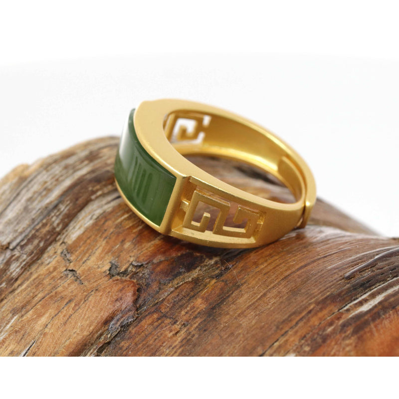 "Baikalla™ ""Classic Signet"" Gold Plated Sterling Silver Real Green Jade Classic Men's Ring"
