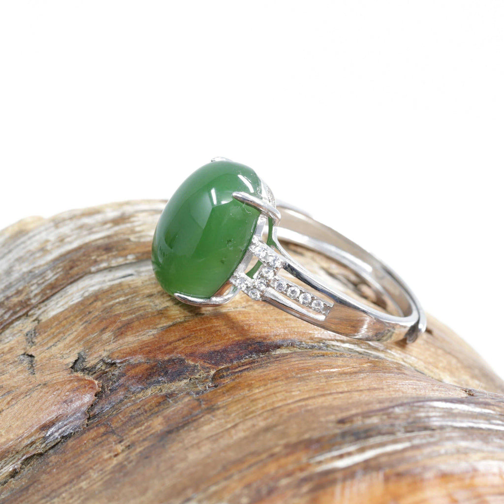 "Baikalla™ ""Classic Oval With Accents"" Sterling Silver Real Green Nephrite Jade Classic Ring For Her"