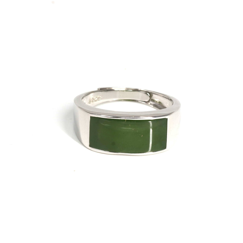 "Baikalla™ ""Signature Signet"" Sterling Silver Real Green Nephrite Jade Classic Men's Ring"