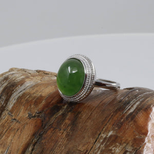 "Baikalla™ ""Classic Oval"" Sterling Silver Real Green Nephrite Jade Classic Ring For Her"
