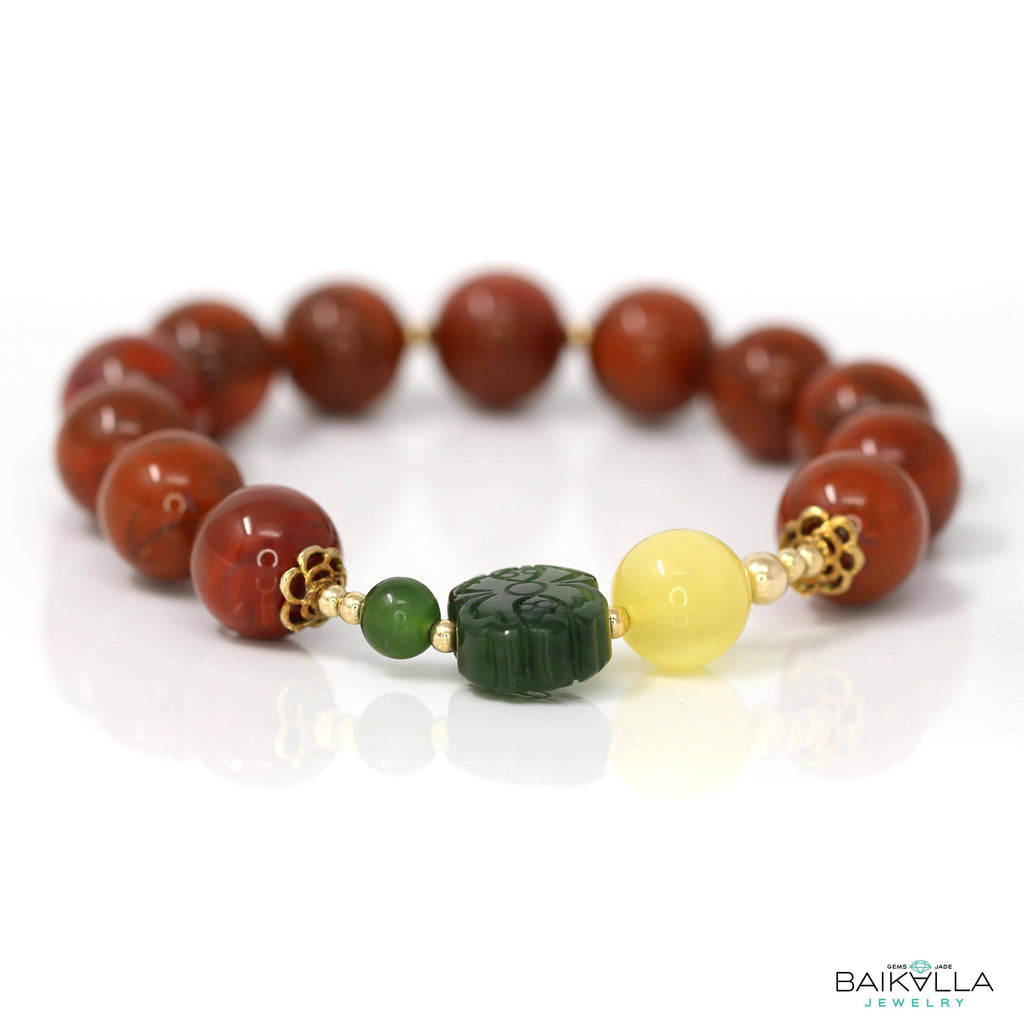 Natural Agate Beads 11.2 mm & Jade Ruyi  & Amber Bead Elastic Bracelet,Gemstones,Stretch Bracelet