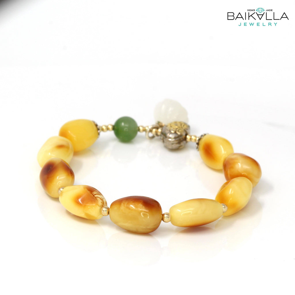 Natural Amber Beads & White Jade Green Jade Bead Elastic Bracelet,Gemstones,Stretch Bracelet