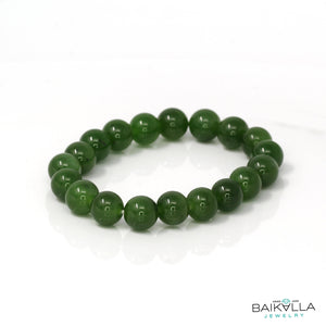 Genuine Green Jade Round Beads Bracelet Bangle ( 9.2 mm )