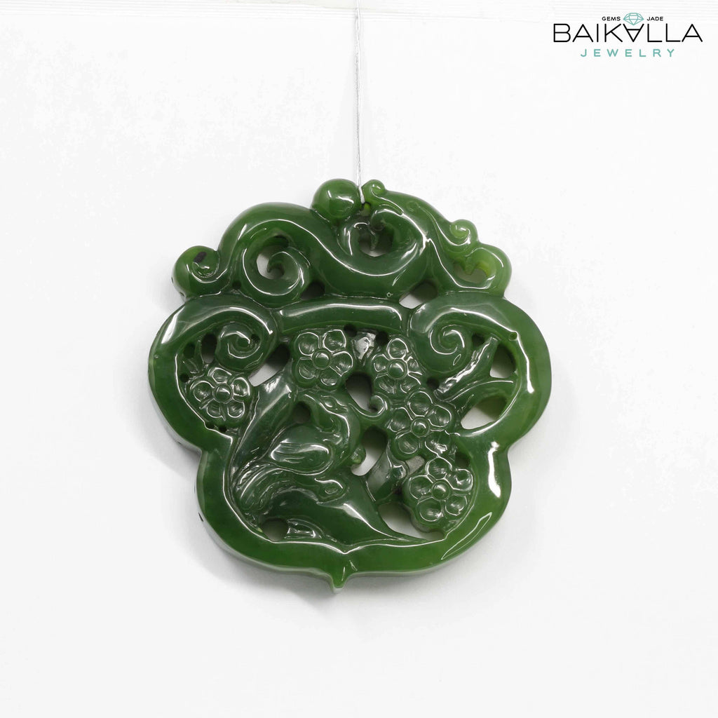 Genuine HeTian Nephrite Green Jade Dragon Pendant Necklace