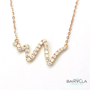 "Baikalla™ ""The Beat of your Heart"" 18K Rose Gold 0.365 CTW Heart Beat Diamond Pendant Necklace"