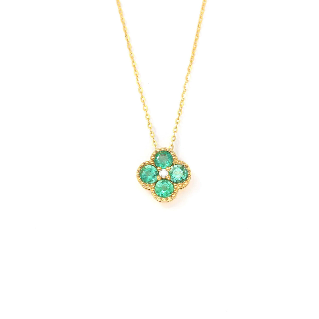 18k Yellow Gold Emerald Clover With 1/5 CTW Diamonds Pendant Necklace