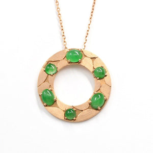14k Rose Gold & Genuine Imperial Jadeite Pendant Necklace Green jade baikalla Jewelry Necklace