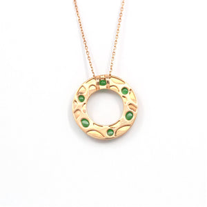 "Baikalla™ ""Alexandra"" 14k Rose Gold & Genuine Imperial Jadeite Pendant Necklace"