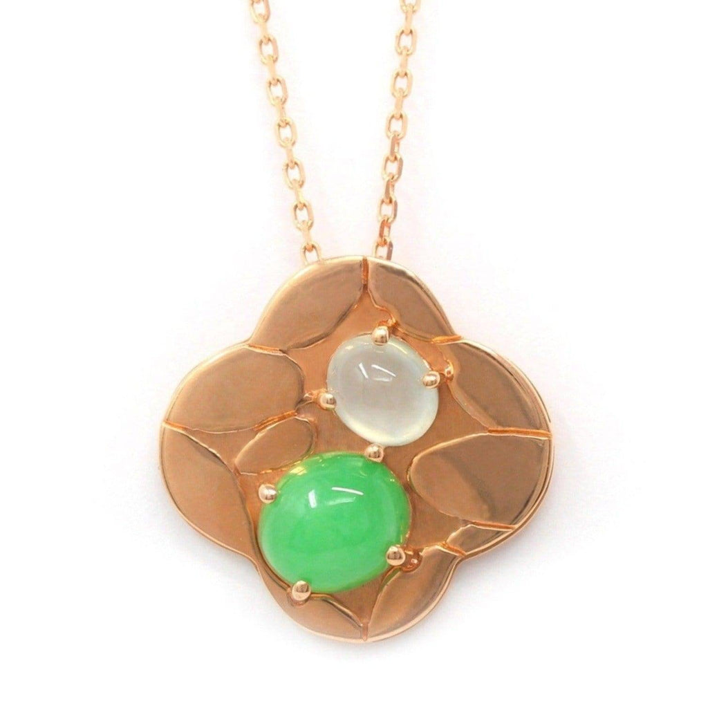 "Baikalla™ ""Lucky 4 leaf clover"" 14k Rose Gold & Genuine Burmese Imperial & Ice Jadeite Pendant Necklace"