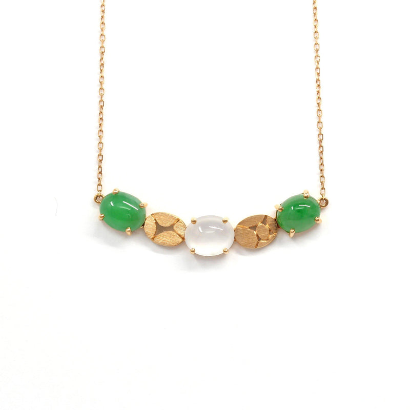 Baikalla™ 18k Rose Gold & Genuine Burmese Imperial Green & Ice Jadeite Necklace