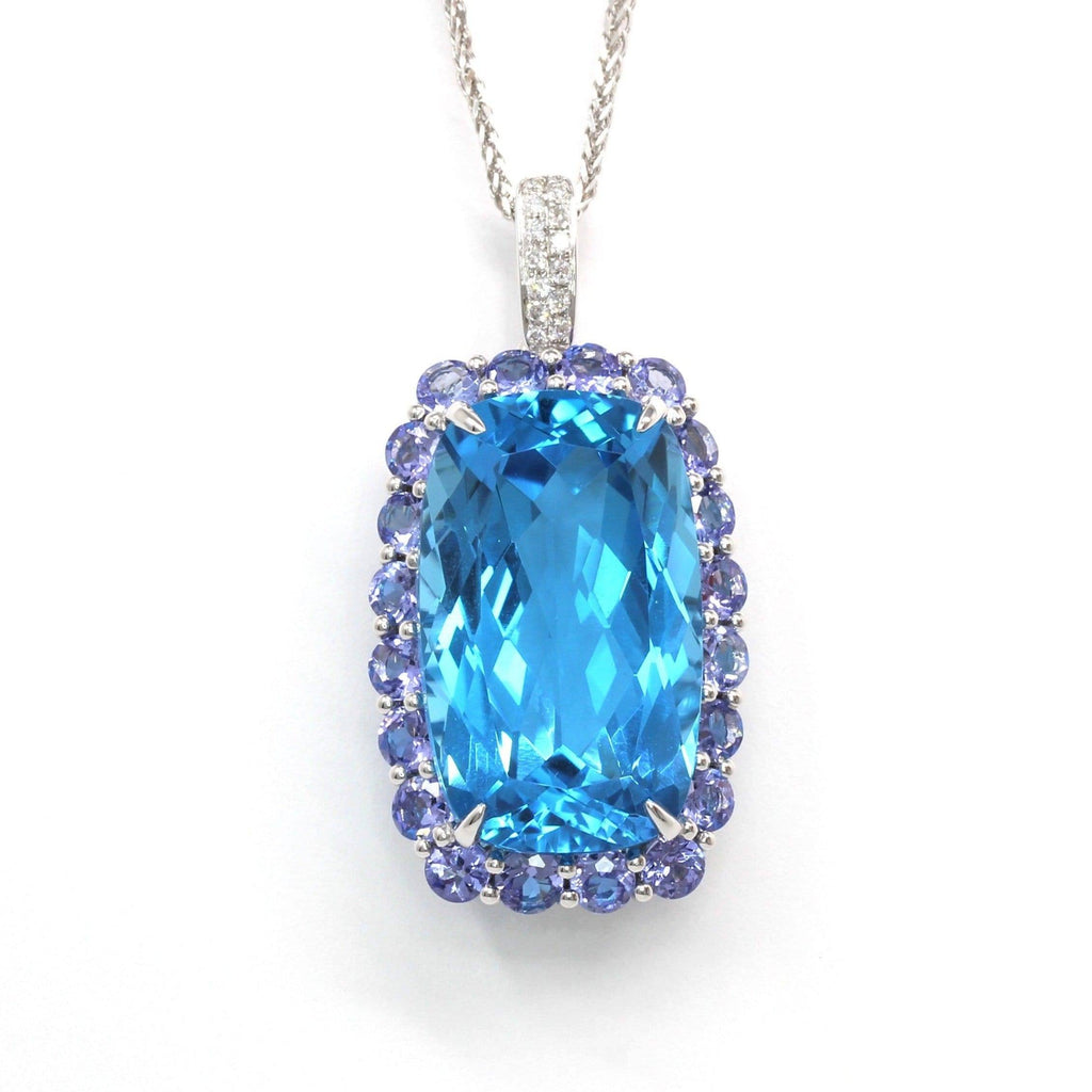 18k White Gold Topaz Pendant Necklace Baikalla Jewelry