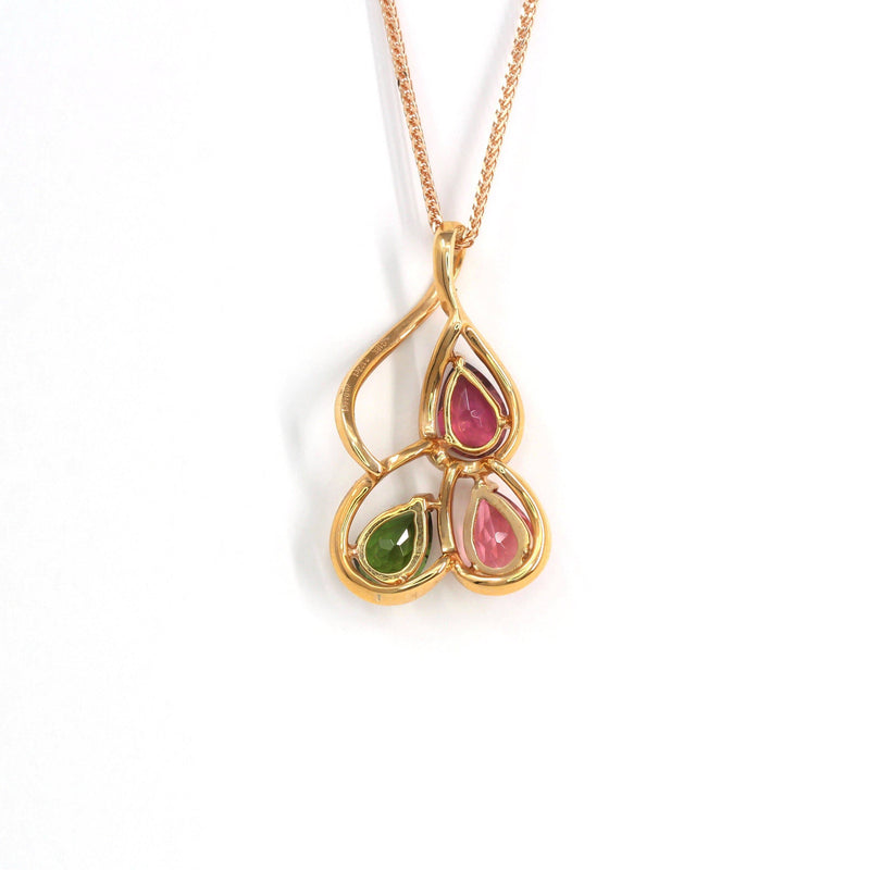 18k Rose Gold & Natural Tourmaline Pendant Necklace Baikalla Jewelry