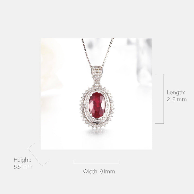18k White Gold & Natural AA Oval Ruby Halo Pendant Necklace