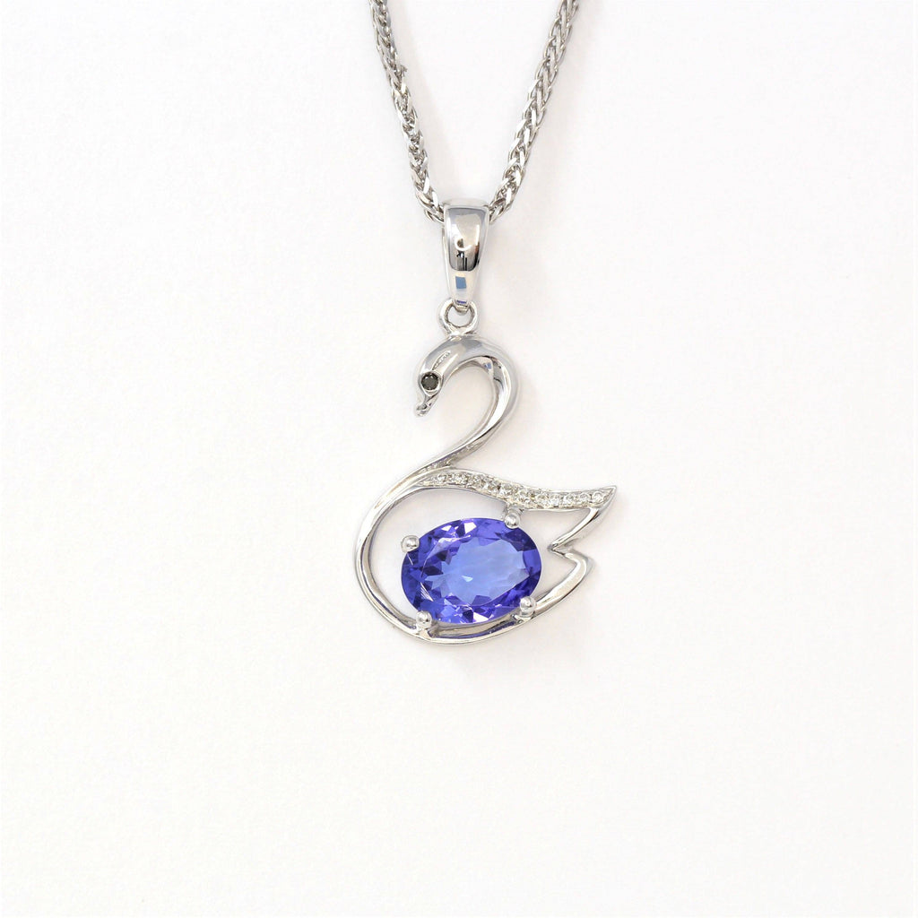18k White Gold & Genuine Tanzanite Swan Pendant Necklace Baikalla Jewelry
