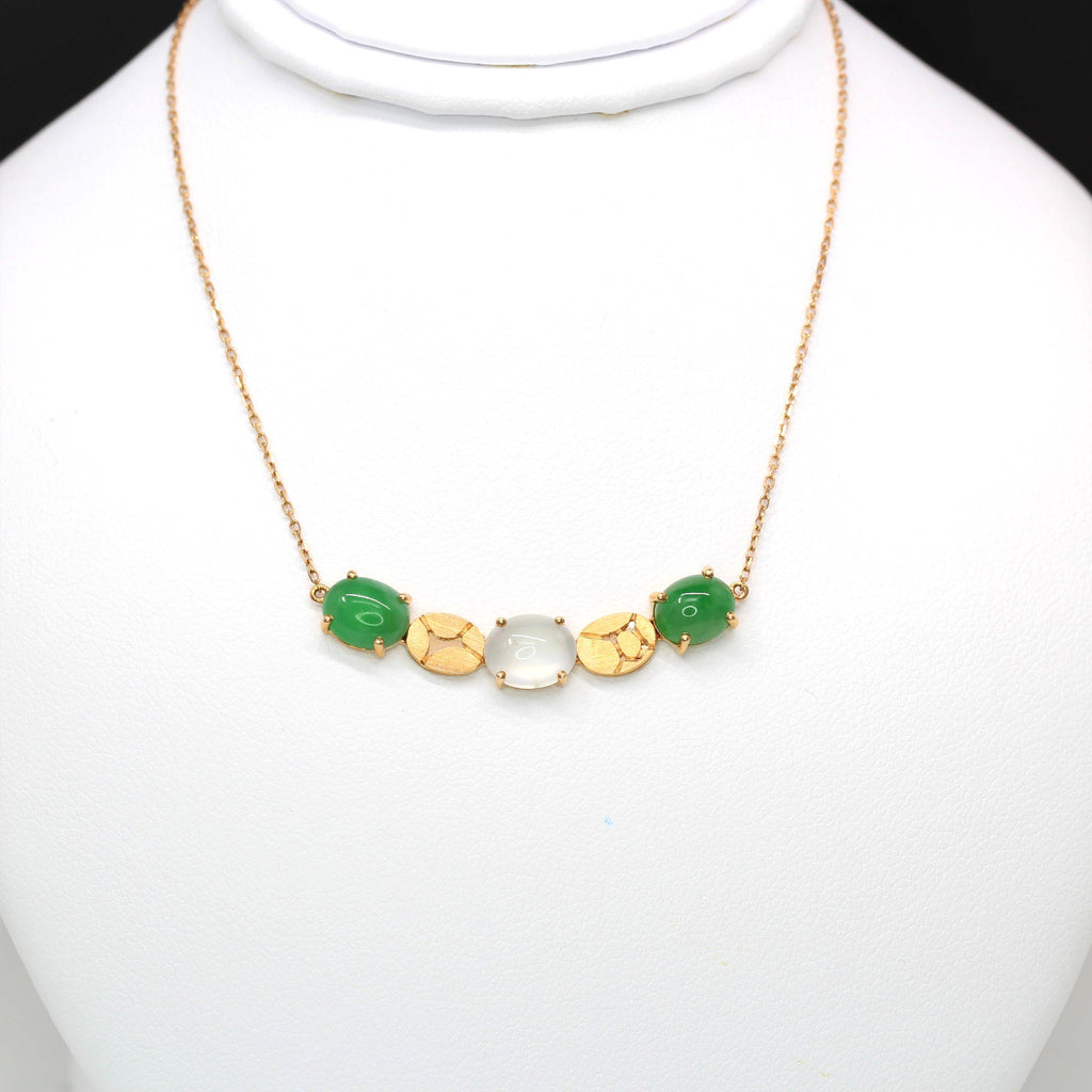 18k Rose Gold & Genuine Burmese Imperial Green & Ice Jadeite Necklace