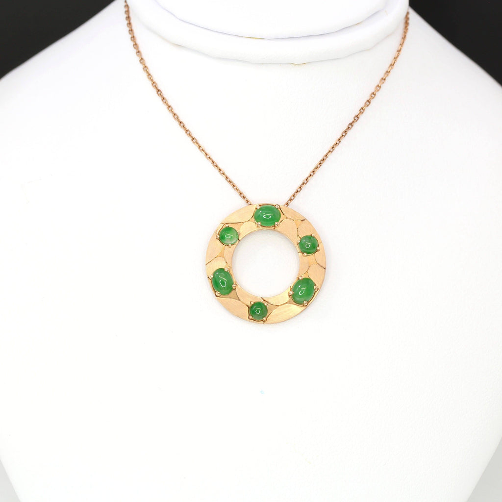 14k Rose Gold & Genuine Imperial Jadeite Pendant Necklace