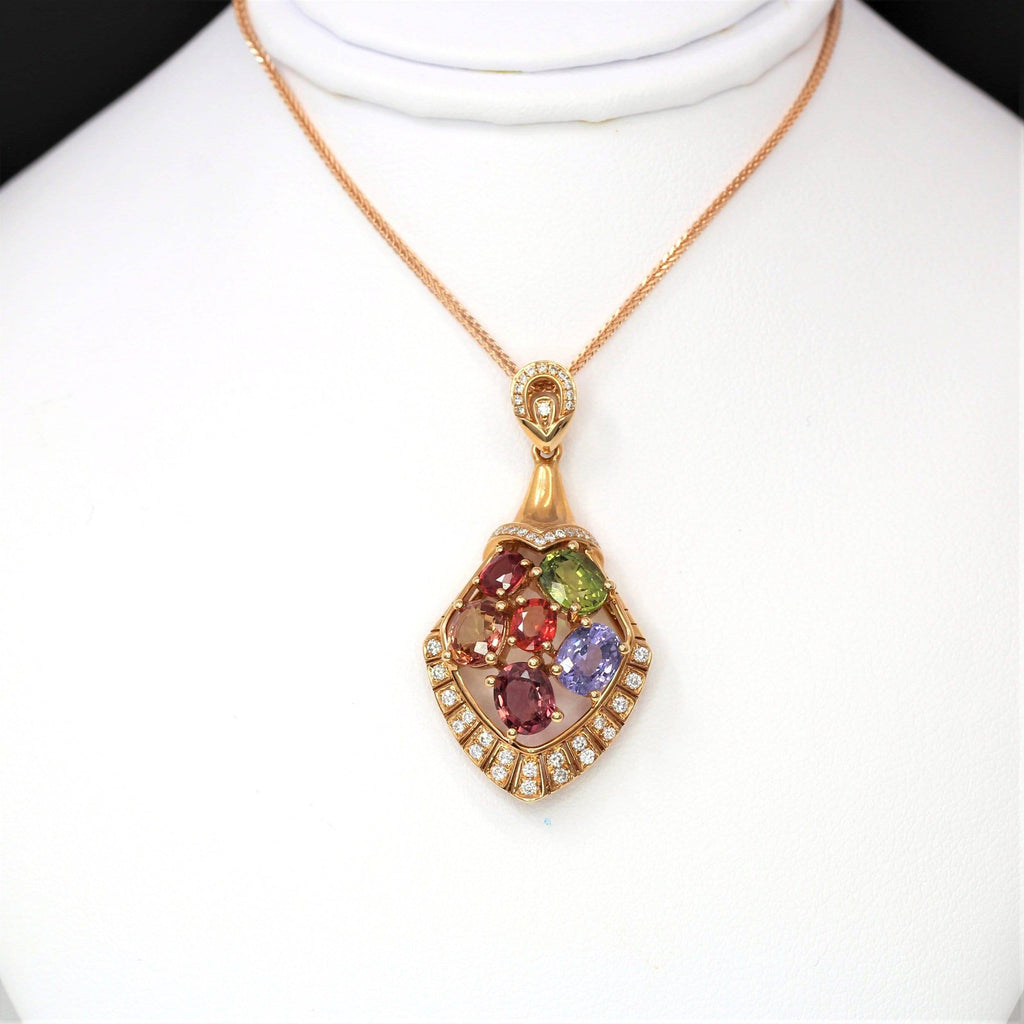 18k Rose Gold Sapphire & Diamond Pendant Necklace  Baikalla Natural gemstone