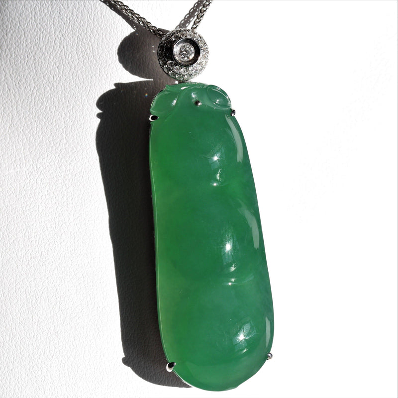 Imperial Green Jade Baikalla Jewelry Necklace Real Jade High End Jade Collectors Item