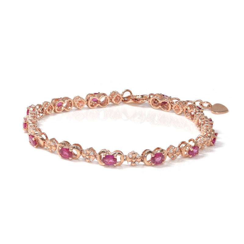 Baikalla™ 18K Rose Gold Natural Ruby and Diamond Bypass Hinge Bracelet