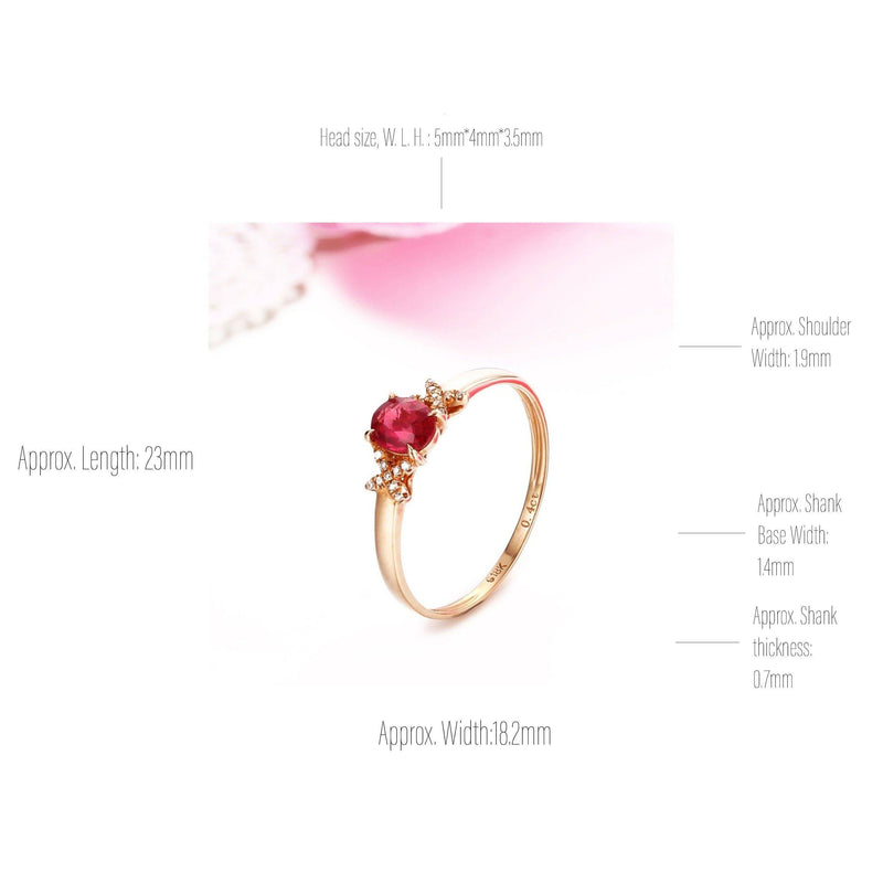 Baikalla™ 18k Rose Gold & Natural A Ruby ( 2/5 ct )Ring With Diamonds