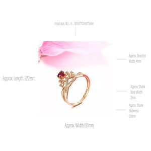 18k Rose Gold & Natural A Ruby ( 1/2 ct ) Ring With Diamonds