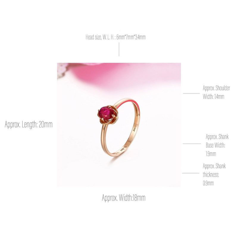 18k Rose Gold & Natural Ruby Ring with Diamonds Baikalla Jewelry