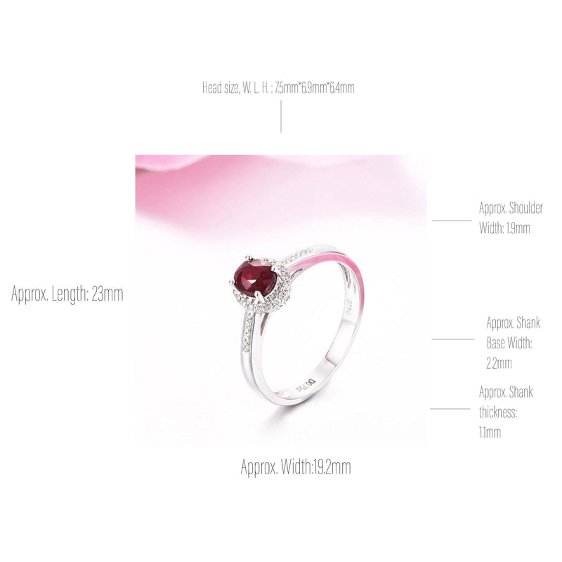 18k White Gold & Natuarl 3/4 Ruby Ring with Diamonds Baikalla Jewelry