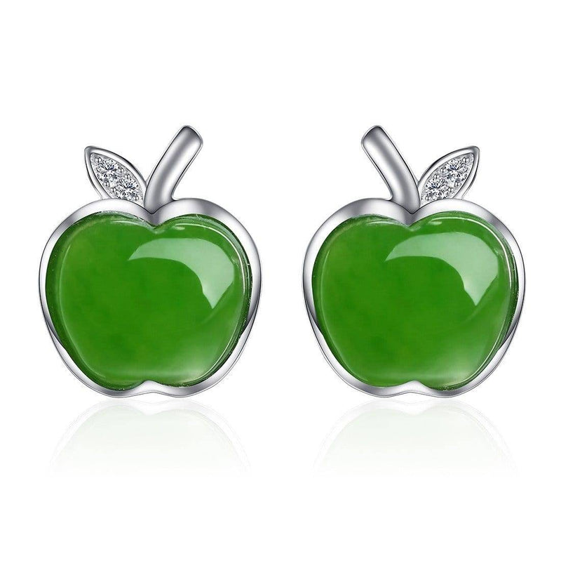 Genuine Nephrite Green Jade (high quality)  Apple Earrings