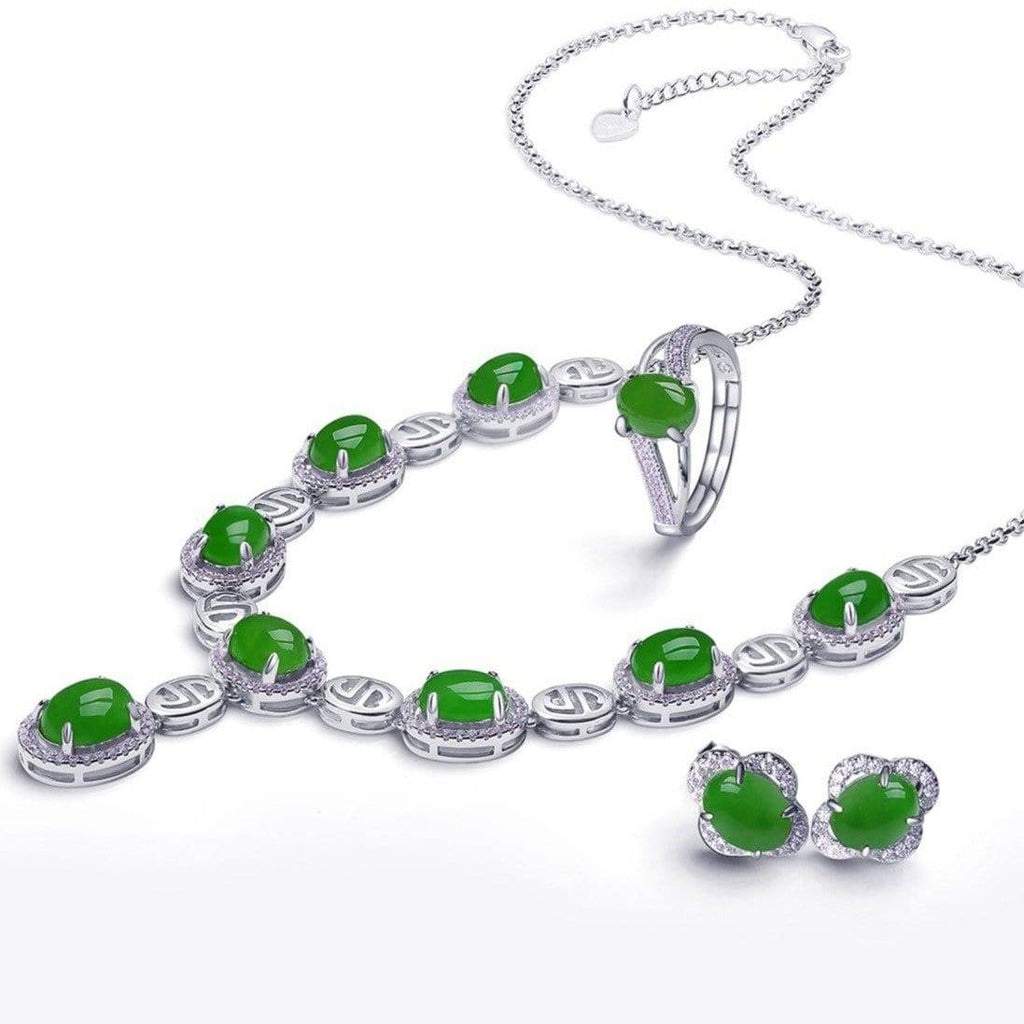 Genuine Nephrite Green Jade Sterling Silver Matching Set