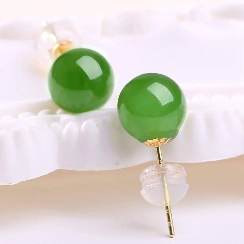 "Baikalla™ ""Classic Jade Stud"" 18K Gold Genuine Nephrite Green Jade (high quality) Earrings"