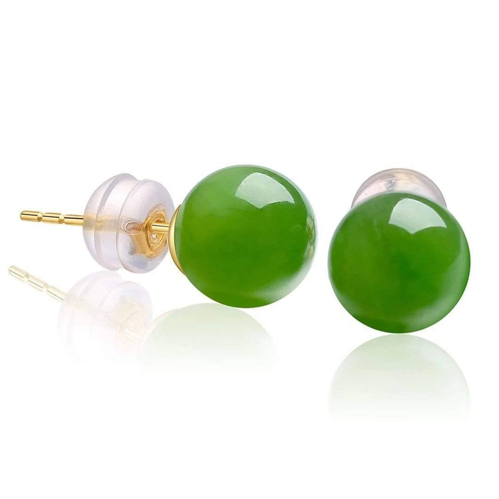 18K Gold Nephrite Jade Earrings