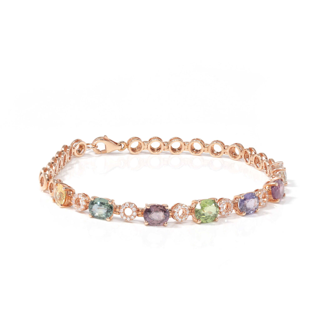 Baikalla™ 18K Rose Gold Natural Color Sapphire and Diamond Bypass Hinge Bracelet