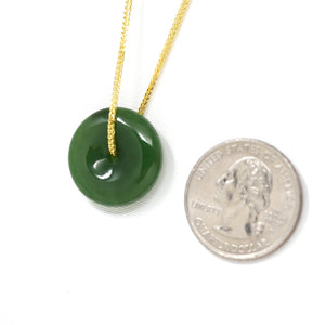 "Baikalla™ ""Good Luck Button"" Necklace Real Green Jade Lucky KouKou Donut Pendant Necklace"