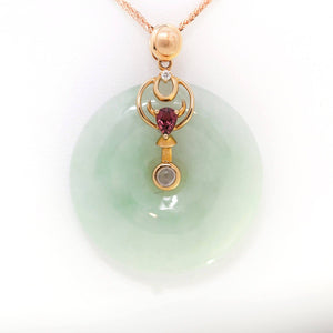 18k Rose Gold Genuine Burmese Jadeite Constellation (Taurus) Necklace with Diamonds & Tourmaline