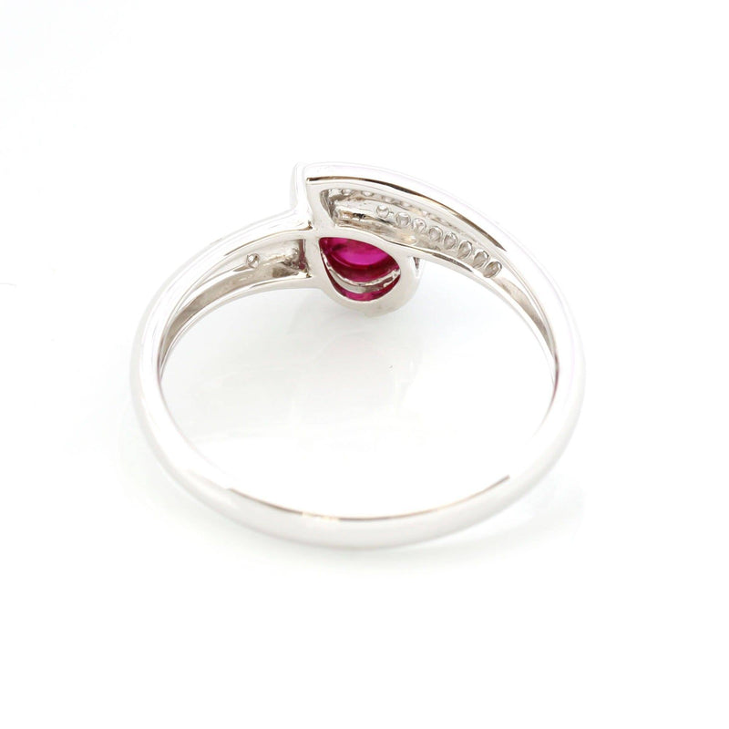 18k White Gold Natural Tear Drop Ruby Diamond Anniversary Ring