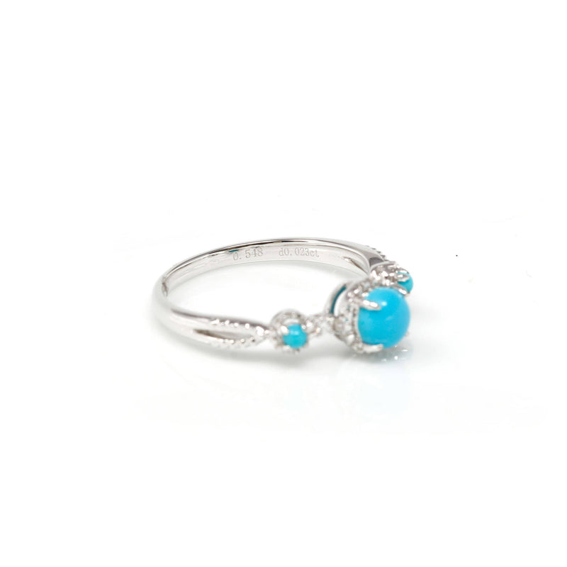 18k White Gold Natural sky blue Turquoise ring with natural diamonds Baikalla Jewelry side view and total stone weight engraving