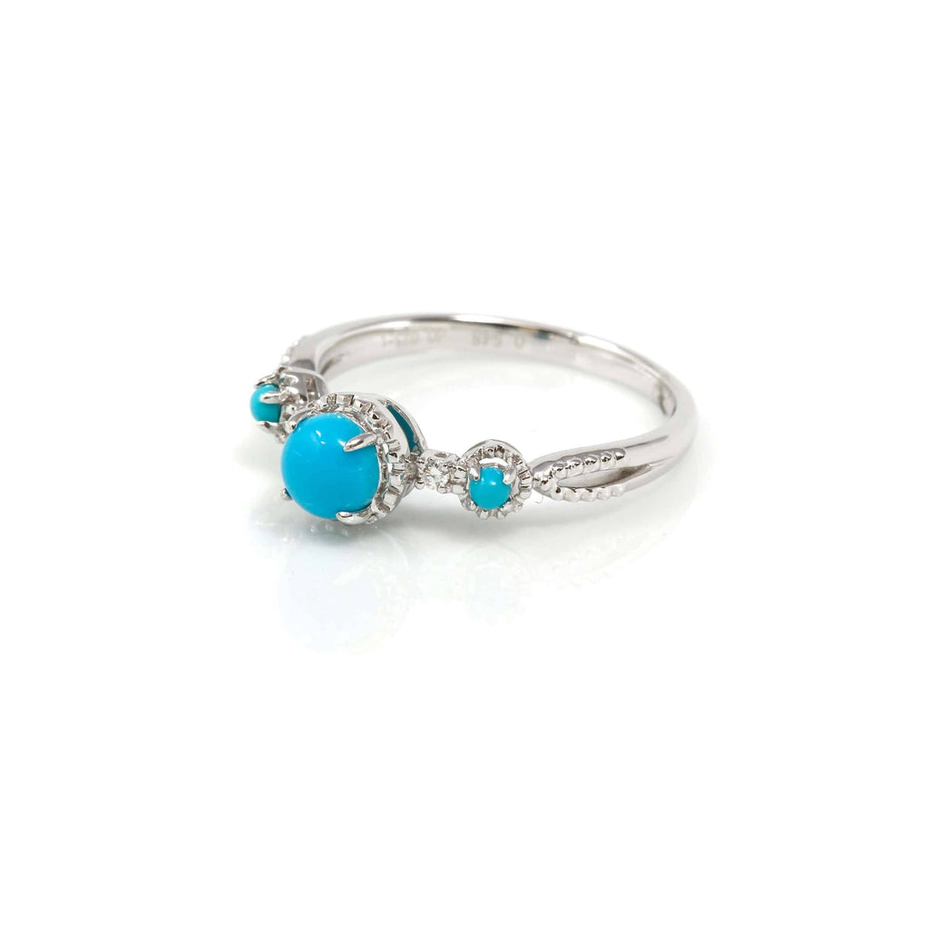 18k White Gold Natural sky blue Turquoise ring with natural diamonds Baikalla Jewelry side view