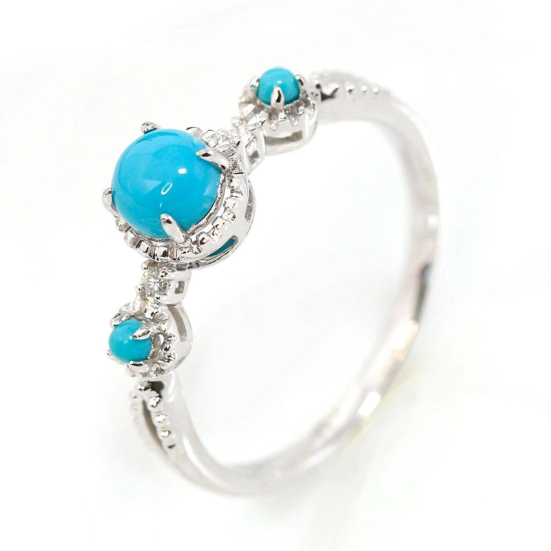18k White Gold Natural sky blue Turquoise ring with natural diamonds Baikalla Jewelry