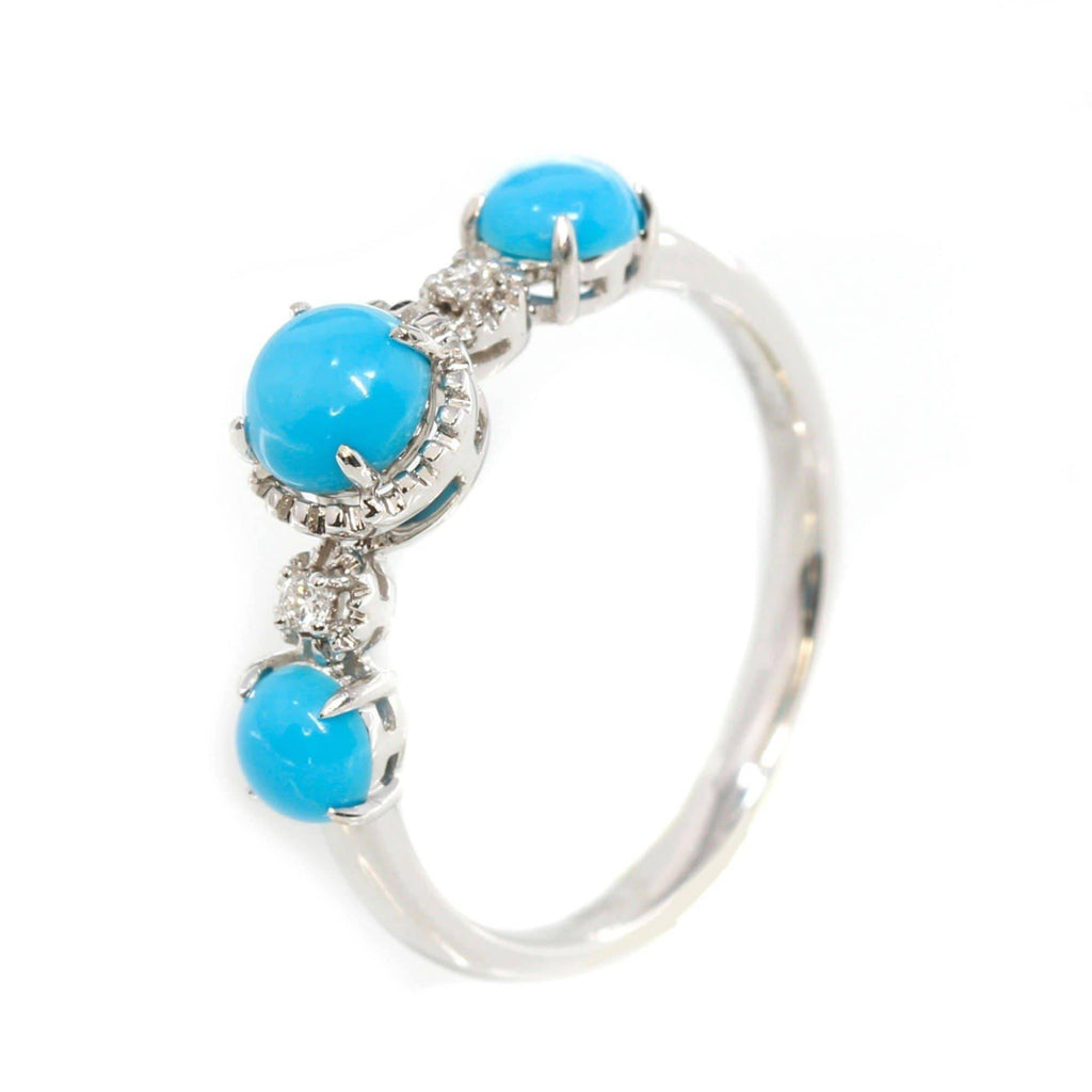 "Baikalla™ ""Sarah"" 18k Gold Genuine 3 Stone Persian Blue Arizona Turquoise Engagement Ring"