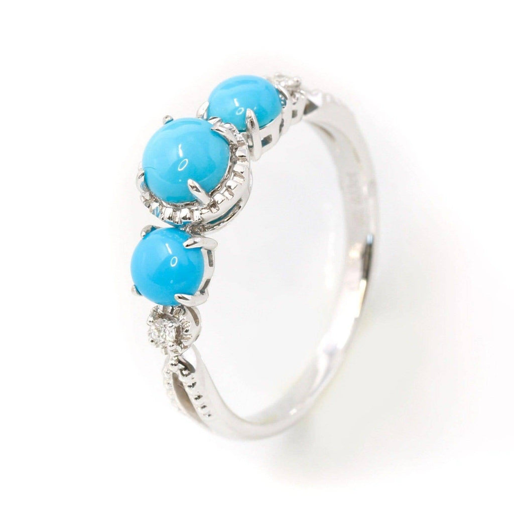 "Baikalla™ ""Mary"" 18k Gold Genuine 3 Stone Persian Blue Arizona Turquoise Engagement Ring"