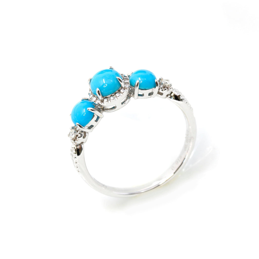 18k Gold Genuine 3 Stone Persian Blue Arizona Turquoise Engagement Ring