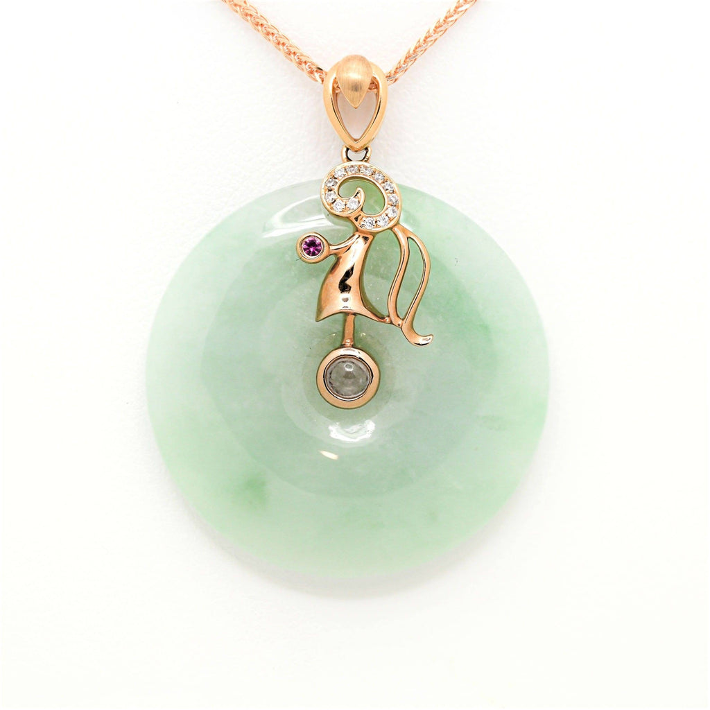 18k Rose Gold Genuine Burmese Jadeite Constellation (Virgo) Necklace Pendant with Diamonds & Ruby