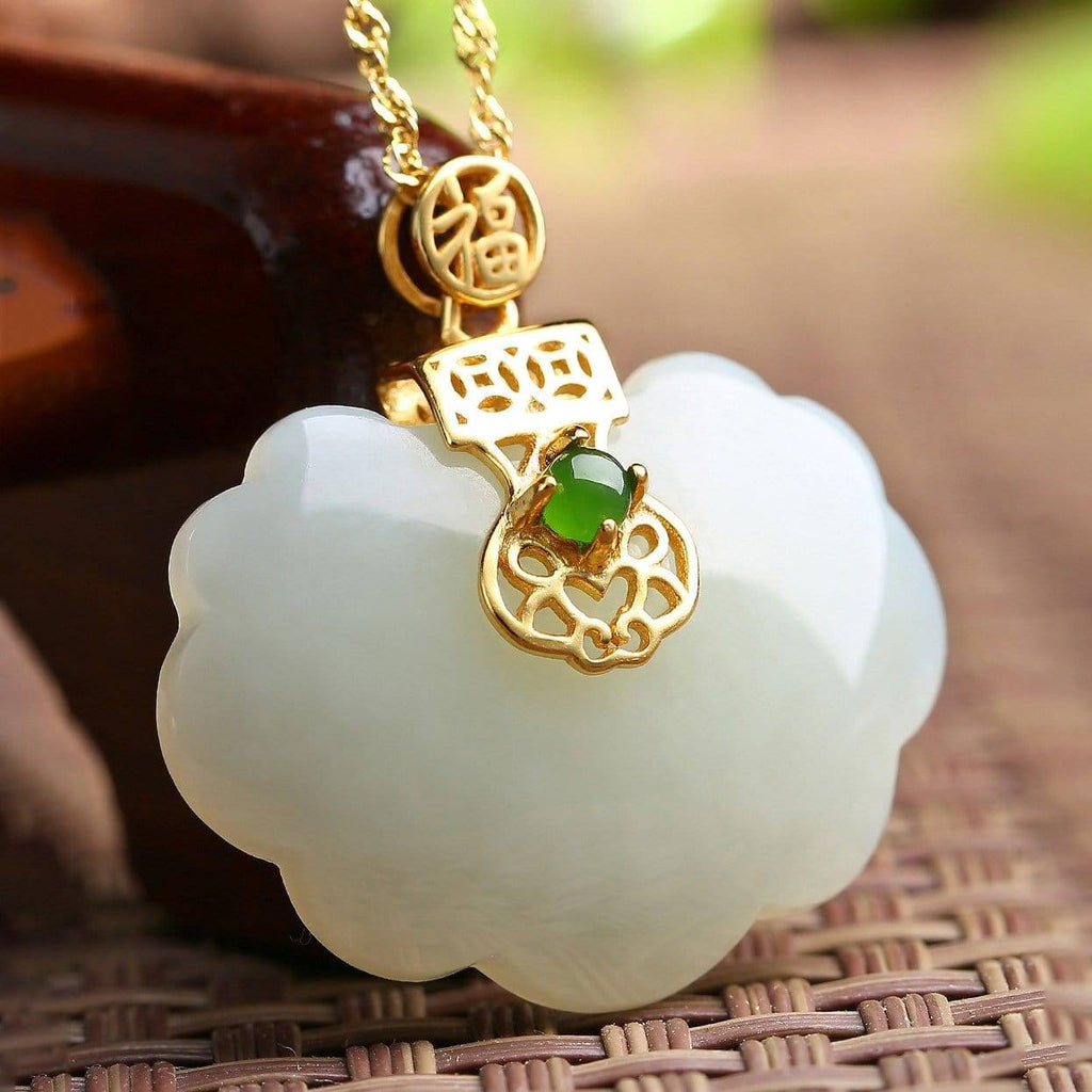 Sterling Silver Genuine White Jade RuYi Pendant Necklace  with 18k Gold Plated