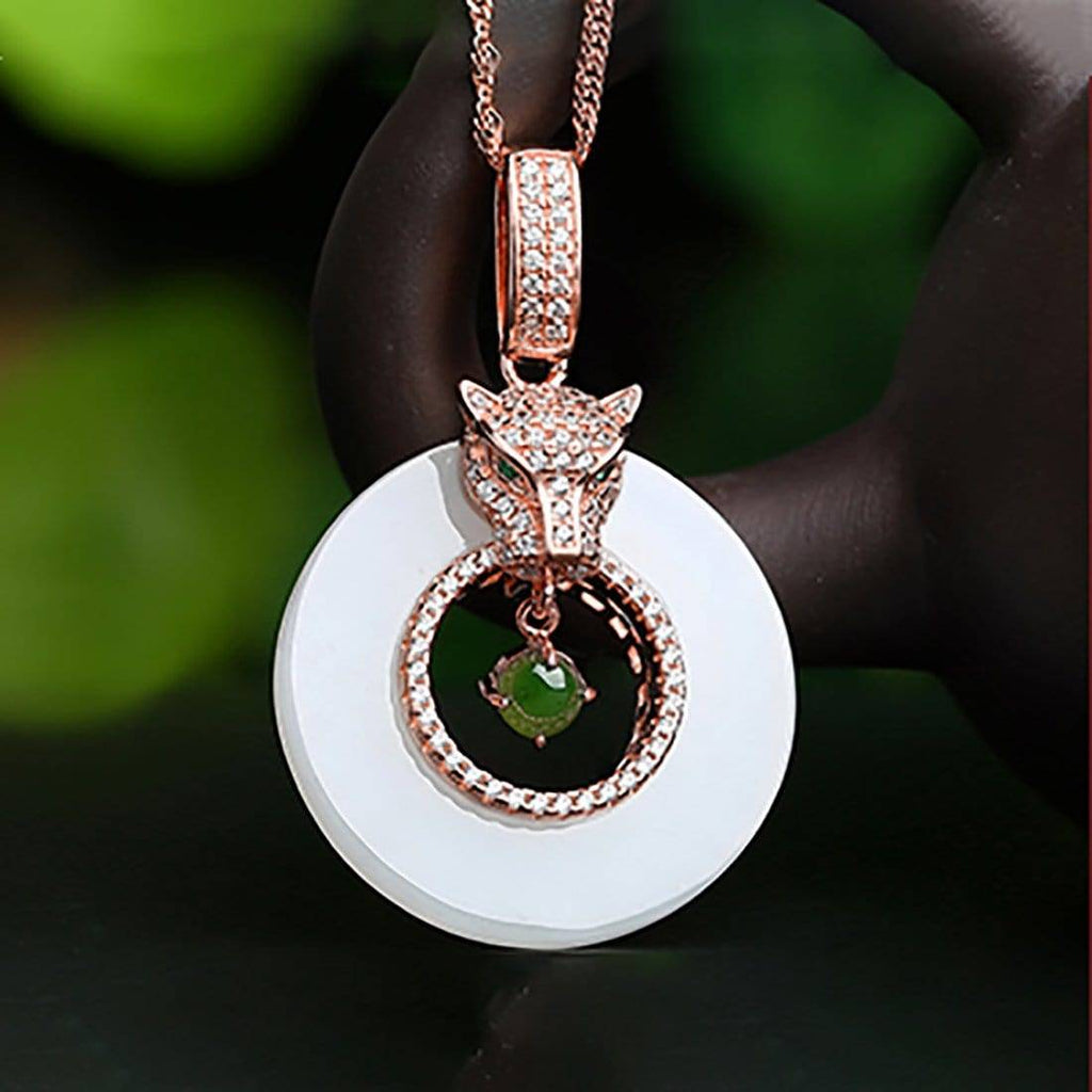 Genuine Green and White Nephrite Jade Leopard Necklace with CZ(Rose Gold Plated or Silver)