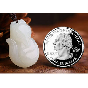 Genuine Nephrite White Jade Fox Pendant Necklace