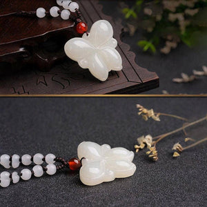 Genuine Nephrite White Jade Butterfly Necklace